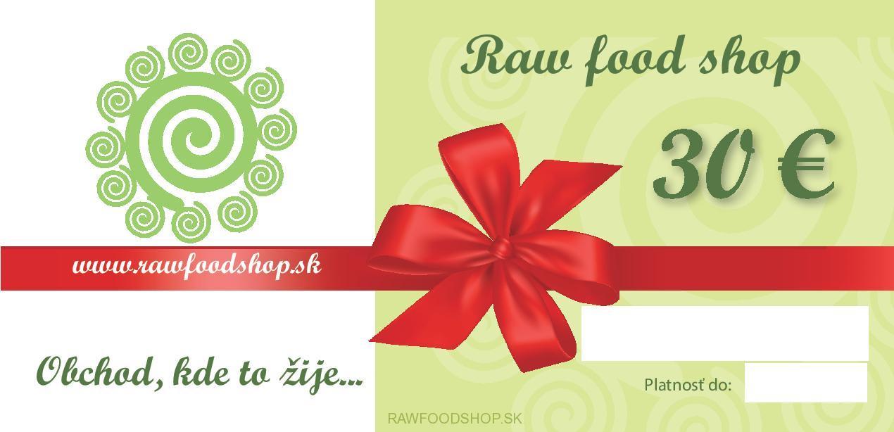 Darčeková poukážka v hodnote 30€ - RAW FOOD CARD 2185fd73bc8