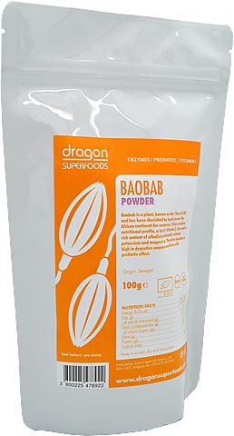 Baobab prášok RAW BIO 100g - Dragon Superfoods