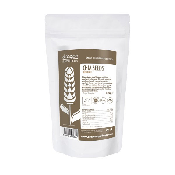 Chia semienka RAW BIO 500g - Dragon Superfoods