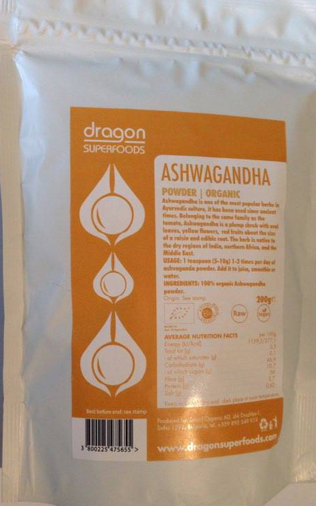 Prášok Ashwagandha RAW BIO  RAW 200g - Dragon Superfoods