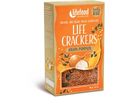 Live crackers cibuľové BIO RAW 90g, Lifefood