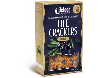 Life crackers olivové BIO RAW 90g , Lifefood
