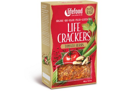 Life crackers rajčinové BIO RAW 90g, Lifefood